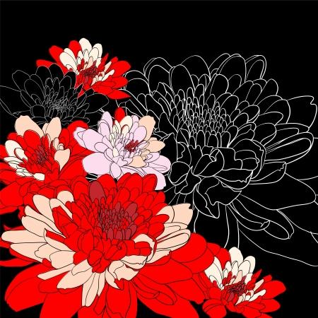 golden daisy: Fondo decorativo con flores de crisantemo