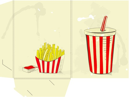 french cuisine: Template for folder with Soda drink and french fries