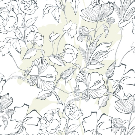 paeony: Floral seamless pattern with a lot of flowers