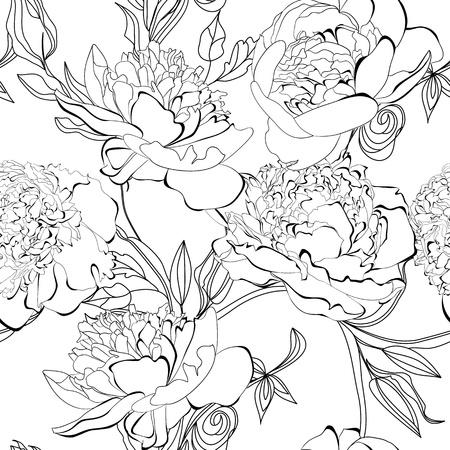 monochroom: Zwart-wit naadloze patroon met pioen bloemen Stock Illustratie