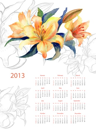 Yellow Lily watercolor. Calendar for 2013 photo