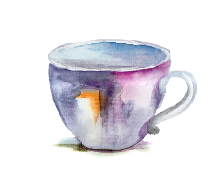 teacups: Watercolor illustration of cup