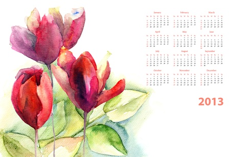Watercolor calendar with green leaves and Tulips flower photo