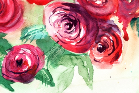 Beautiful Roses flowers, Watercolor painting  photo