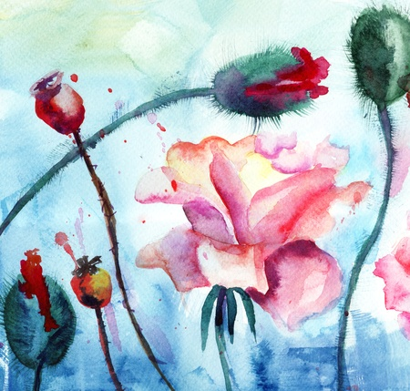 Roses with poppy flowers, Watercolor painting  photo