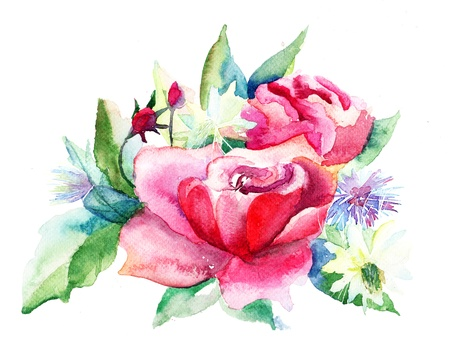 Beautiful Roses flowers, Watercolor painting Stock Photo - 14948055