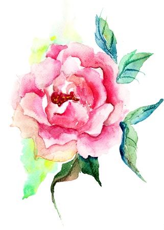 Beautiful Roses flowers, Watercolor painting  Stock Photo - 14948038