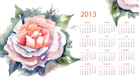 Pink Rose Calendar for 2013 photo