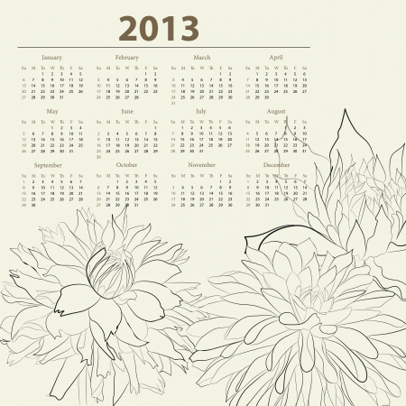 Calendar for 2013 with flowers  Stock Vector - 15164397
