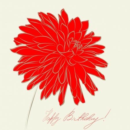 dalia: Dahlia flor estilizada ilustración