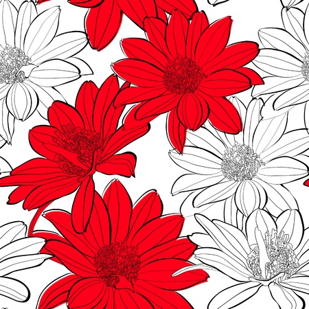 gerber flowers: Summer seamless wallpaper  Illustration