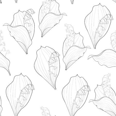 Seamless wallpaper with Lilies of the Valley  flowers Stock Vector - 15164452