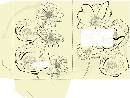 diecut: Template for folder with decorative flowers