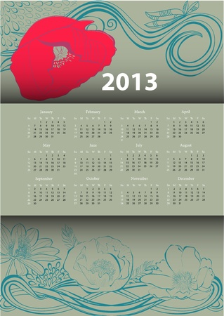 Calendar for 2013 with flowers  Stock Vector - 15407861