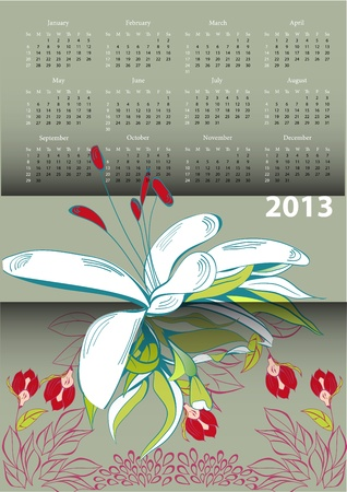 Calendar for 2013 with flowers  Stock Vector - 15407860