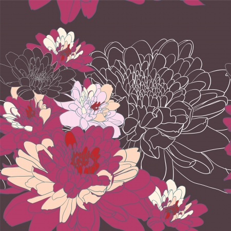 Seamless background with chrysanthemum flowers Vector