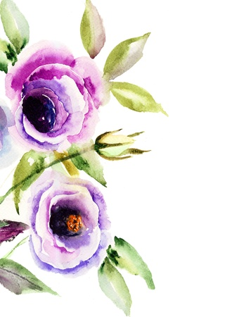 Beautiful Blue flower, Watercolor painting Stock Photo - 15810847