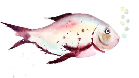 toy fish: Watercolor illustration of decorative fish