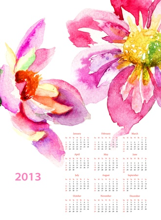 Dahlia flowers, calendar for 2013 photo