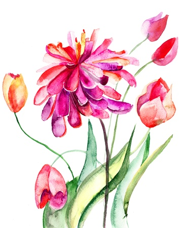 dahlia flower: Colorful summer background with flowers  Watercolor illustration