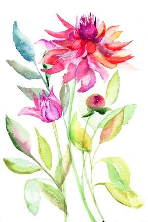 달리아: 달리아 꽃, 수채화 그림