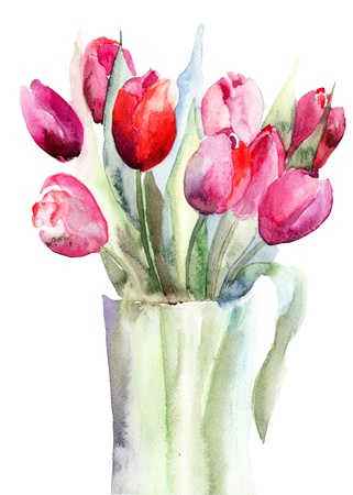 Beautiful Tulips flowers, Watercolor painting