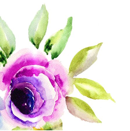 Beautiful Blue flower, Watercolor painting  Stock Photo - 16050422