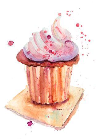 custard: Chocolate cake, watercolor illustration
