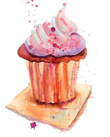 custard flavor: Chocolate cake, watercolor illustration