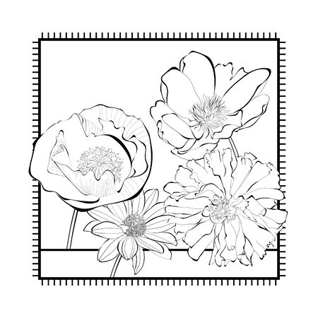 Template for card with decorative flowers Vector