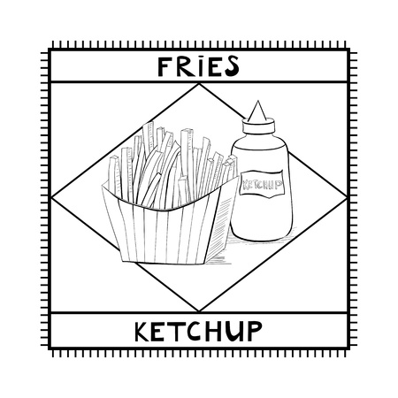 French Fries and ketchup Stock Vector - 16455496