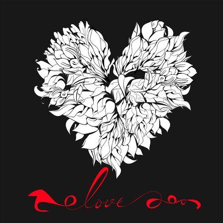 inscription: Decorative heart with Inscription love Illustration