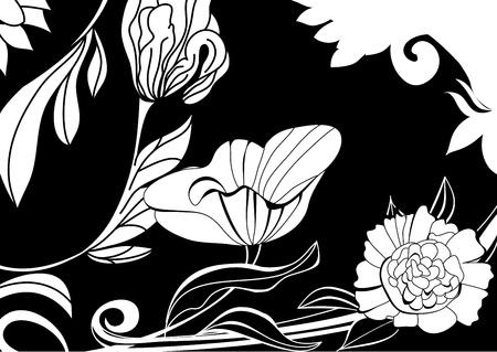 stile liberty: Saluto carta vintage con fiori, illustrazione in bianco e nero