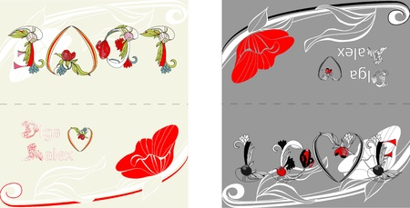 Template for card with decorative Poppy flowers Vector