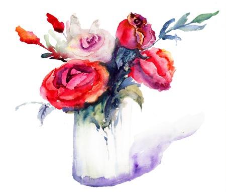Beautiful Roses flowers, Watercolor painting Stock Photo - 16494078