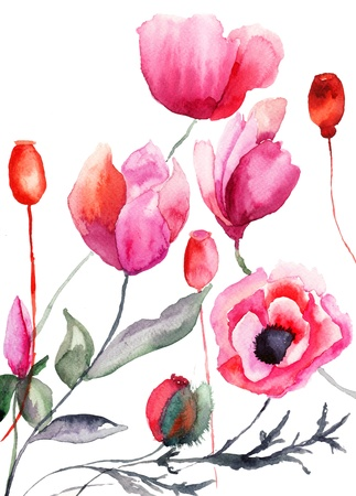watercolor flower: Colorful flowers, watercolor illustration  Stock Photo