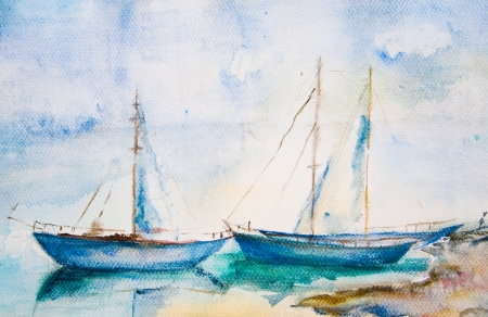 Ships in the sea, watercolor painting photo