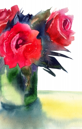 Roses flowers, watercolor illustration Stock Illustration - 16494087