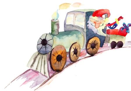 christmas watercolor: Christmas train with Santa Claus