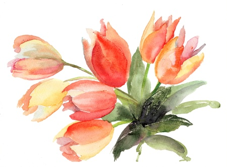 Original Tulips flowers, Watercolor painting  photo