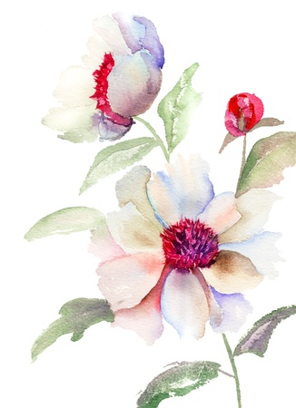 floral abstract: Beautiful Blue flower, Watercolor painting
