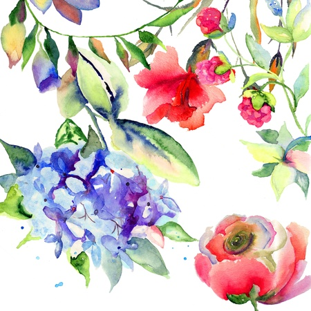 watercolor blue: Beautiful summer flowers, watercolor illustration