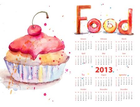 Watercolor illustration of cake, calendar 2013 illustration