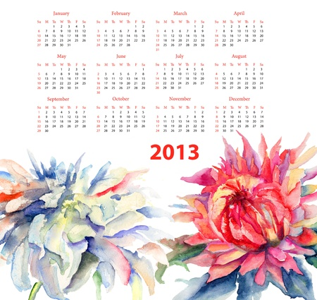 Watercolor illustration with chrysanthemum flowers, calendar 2013 illustration