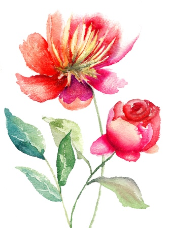 Red flowers, Watercolor painting  photo