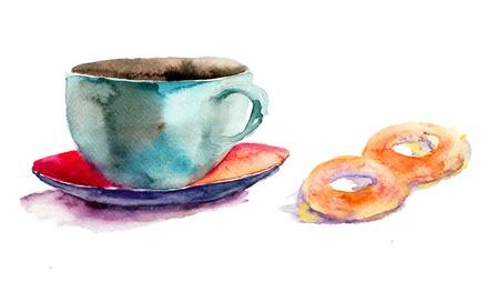 Cup of tea with buns, watercolor illustration  Reklamní fotografie