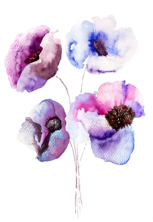 watercolor abstract: Beautiful Blue flowers, Watercolor painting