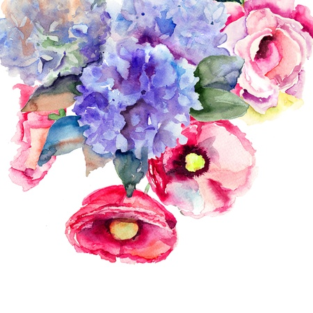 Beautiful summer flowers, watercolor illustration  illustration