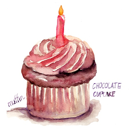 Watercolor illustration of chocolate cupcake