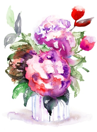 still life flowers: Beautiful Peonies flowers, Watercolor painting